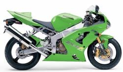 Kawasaki ZX 6R 2004 green labels graphics