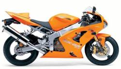 Kawasaki ZX 6R 2004 orange labels graphics