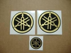Yamaha 3d gel gas tank emblems gold decals kit set