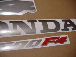 Honda CBR 600 F4 2000 silver stickers kit