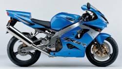 Kawasaki ZX9R 2003 blue stickers set