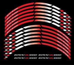 Suzuki gsxr 1000 red white wheel stripes lines decals set