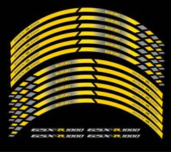 Suzuki gsxr 1000 yellow grey wheel stripes lines decals kit