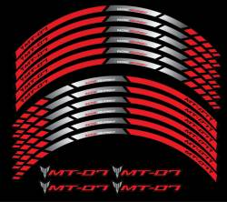 yamaha mt07 red wheel rim stripes stickers decals