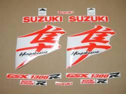 Suzuki Hayabusa neon signal red full logo labels set