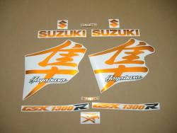 Suzuki Hayabusa 1300 2004 2005 kanji orange decals set