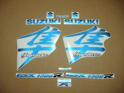Suzuki Hayabusa 1300 2004 2005 kanji blue stickers set