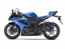 Kawasaki zx-6r ninja 2011 blue decals kit