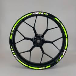 Kawasaki zx6r zx7r reflective green wheel rim stripes set