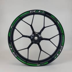 Kawasaki zx9r zx10r reflective green wheel rim stripes set