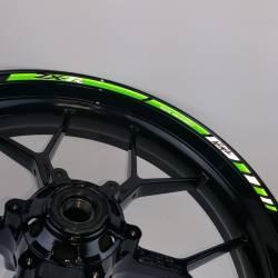 Kawasaki zx12r zx14 reflective green wheel rim stripes set